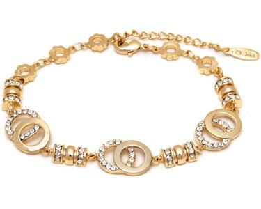 TumbleDeal.com - 18K Gold Plated Brass Crystal Multi Color Heart Bracelet Made with Swarovski Crystals