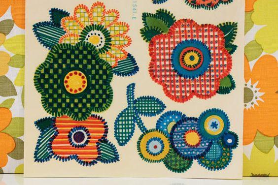 Vintage Retro Kitsch Orange Floral Decals by rebeccaheartsvintage