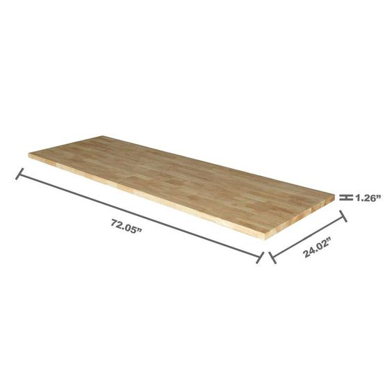 Option for Bath Counter- (Rubberwood?) Husky 72 in. Solid Wood Top for 6 ft. Solid Wood Top Workbench-G7200AS-US - The Home Depot