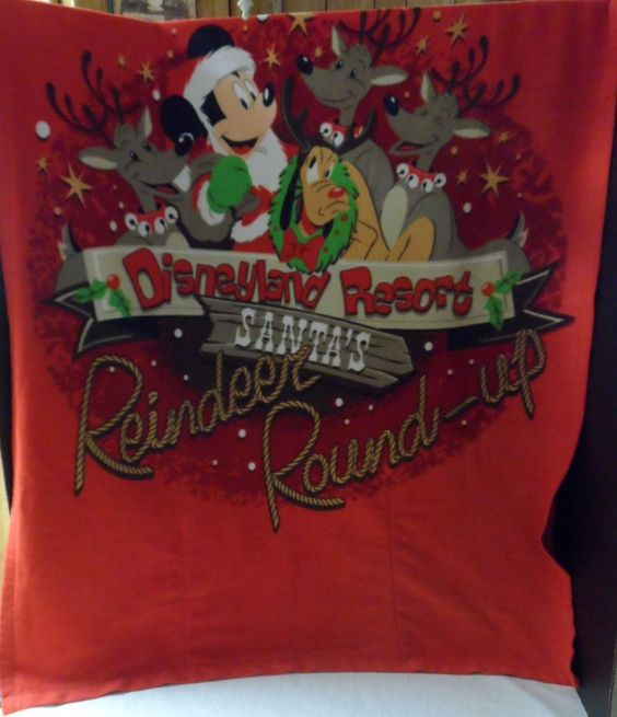 """$24.95/ Disney Holiday Blanket and pillow combo says """"Santa's Reindeer Round Up"""" , measures 36"""" x 48"""" ~this is an exclusive Disneyland Resort item ~seasonal Christmas home decor accent www.stores.ebay.com/Shellys-Sweet-Finds"""