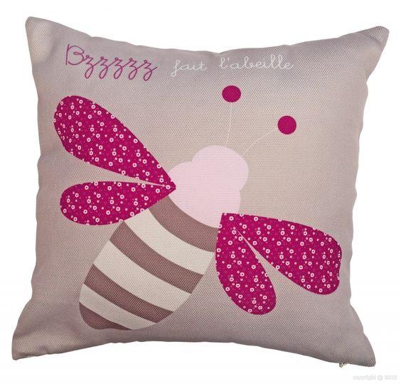 Coussin prénom abeille