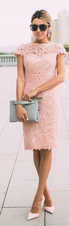Rosa vestido de renda do casamento do estilo por Olá Moda: