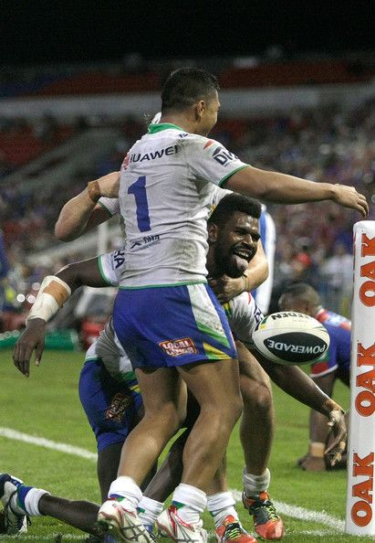 2014 NRL Round 2 Canberra Raiders V Newcastle Knights: Edrick Lee of the Raiders celebrates a try during the round two NRL match between the Newcastle Knights and the Canberra Raiders at Hunter S...
