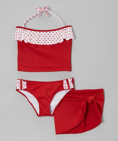Red & White Polka Dot Tankini & Sarong - Toddler & Girls on #zulily #ad *cute