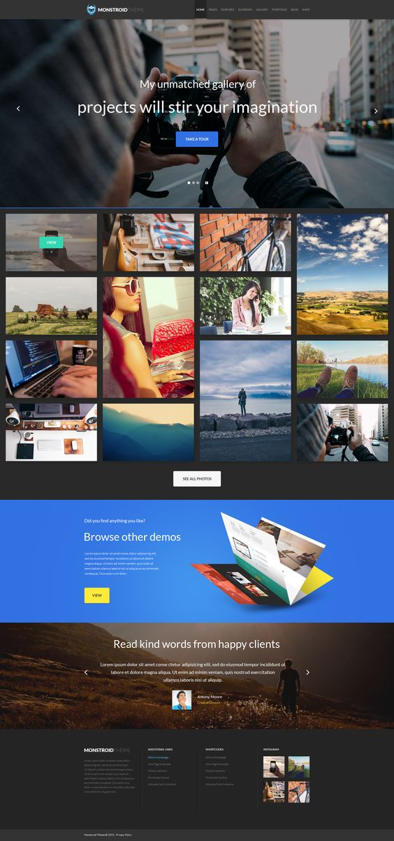 Coming Soon: #Portfolio #Monstroid WordPress Theme will feature 4 styles: dark, light, minimal and flat.. Subscribe to get notified about the Release: http://www.templatemonster.com/wordpress-themes/monstroid/?utm_source=pinterest&utm_medium=timeline&utm_campaign=submonstr