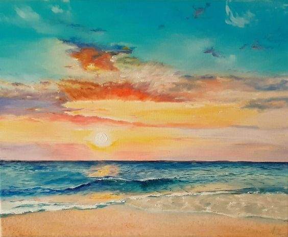 I saw this beautiful sunset and was so inspired by the view that I decided to recreate it on canvas.  Sunset Sky painting, oil painting, Orange and yellow sky, sunset over water painting, sunset painting, sunset sky painting, beach decor #paintingofsunset	 #paintingsofsunsets	 #sunsetpaintings	 #sunsetpainting	 #paintingsunset	 #pictureofsunset	 #sunsetswallpaper #amomentofjoyart