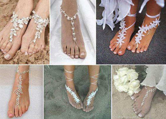 Zapatos para novia, boda en la playa