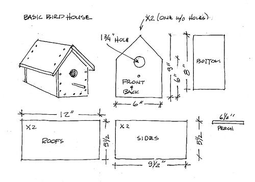 Basic Bird House Plan by youngart via Flickr Crafts