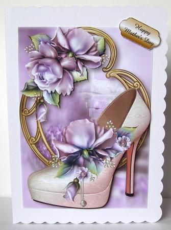 Stunning Shoes The Monaco Collection Purple Roses on Craftsuprint designed by Anne Lever - made by Margaret McCartney - I printed the design onto good quality photographic paper and cut it out. I scored and folded a C5 scalloped edged card. I attached the design to the card using double sided tape. I assembled the decoupage and added the greeting using thin foam tape. I added a pearl to the centre of the small flowers to complete this gorgeous design. - Now available for download!