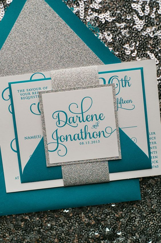 Fabulous sparkly Teal and Silver Luxury Wedding Invitations by Just Invite Me