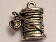 Sewing Thread With Heart Genuine American Pewter Charm