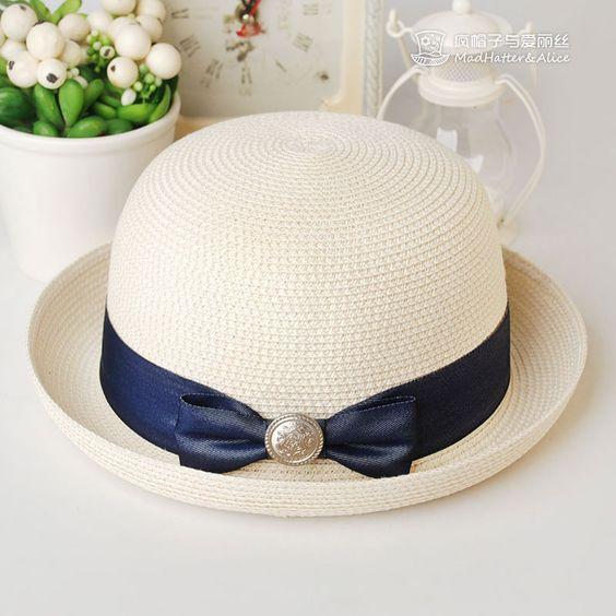 【云端】帽子夏天女卷边礼帽两用小清新可爱草帽 疯帽子与爱丽丝-淘宝网