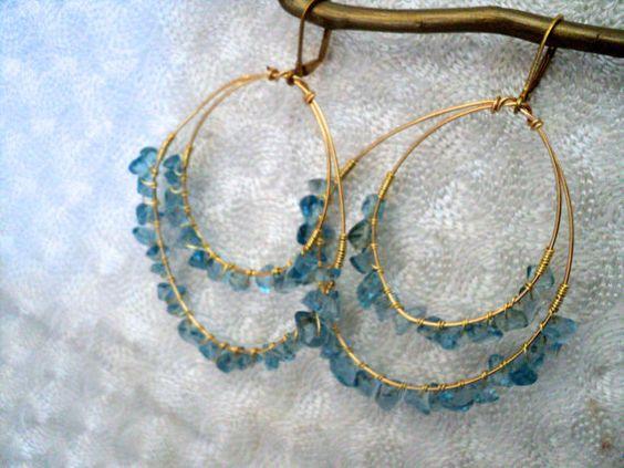 Rustic Hoops Aquamarine Earrings by cecipunch on Etsy, $18.00