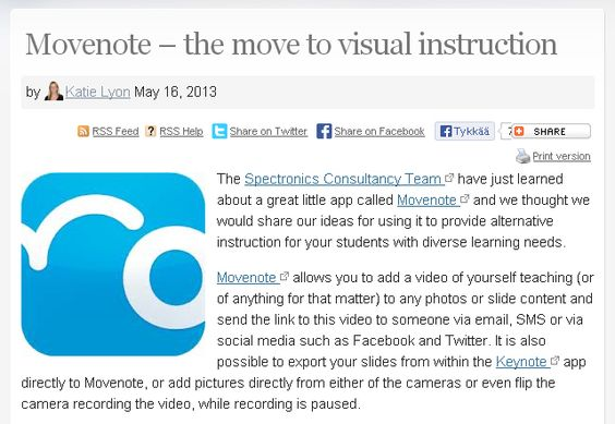 Katie Lyon has great ideas about how to use the Movenote app within our classrooms, clinics and in our homes