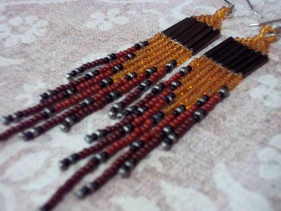 Long Dangle Seed Bead Fringe Earrings in by ArtskilsEarrings