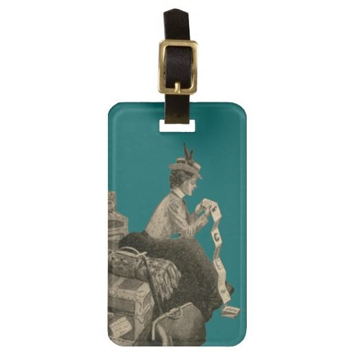 Vintage Antique Woman Luggage Cruise Ship Suitcase Travel Bag Tags