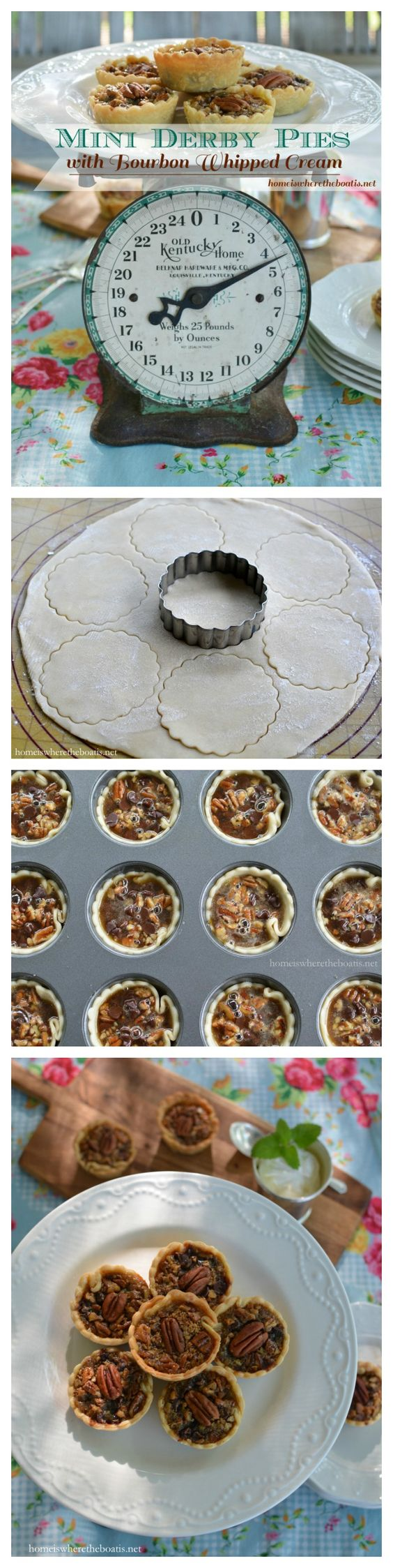 "Mini Derby Pies marry pecan pie with chocolate and a touch of Kentucky bourbon for a winning trifecta! This Bluegrass-inspired recipe is just the right size for ""the most exciting two minutes in sports"" and to accompany your Mint Julep while watching the Kentucky Derby or as an sweet ending for a party or crowd!:"