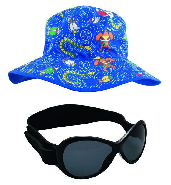 Blue Dreamtime Hat and Black Retro BabyBanz Sunglasses