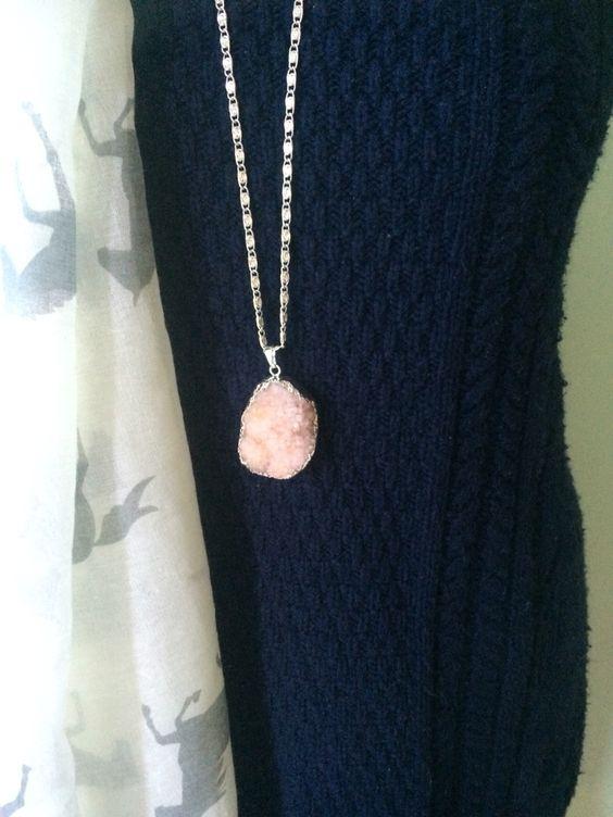 Delicate Pink Semi-Precious Drusy Agate Gemstone Necklace