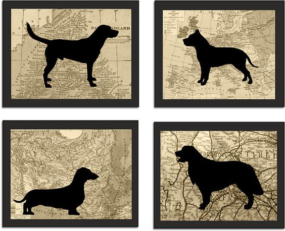 Modern Dog Art,  Silhouette Prints, Vintage Map Background, Pitbull, Dachshund, Golden Retriever, Labrador on Etsy, $10.00