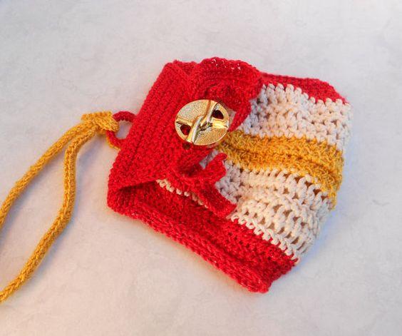 Monedero llavero, elegante rojo, oro y marfil, mini monedero, bolsa pequeña de dinero, monedero, negocio titular, ganchillo mini bolso, monedero, bolsa