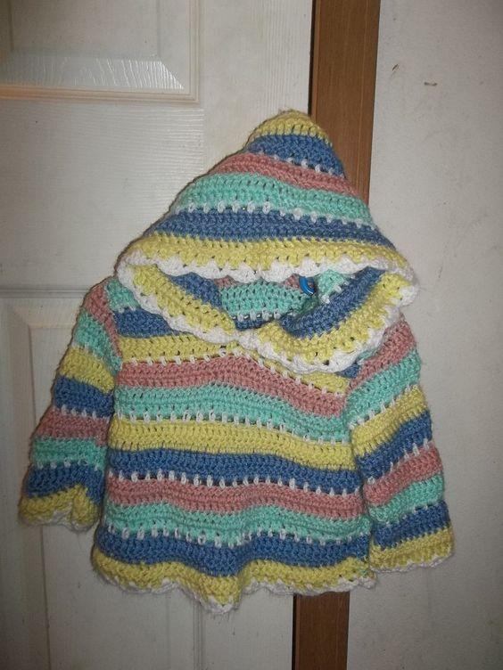 Crochet Girls Hooded Sweater - Infant/toddler crocheted hoody