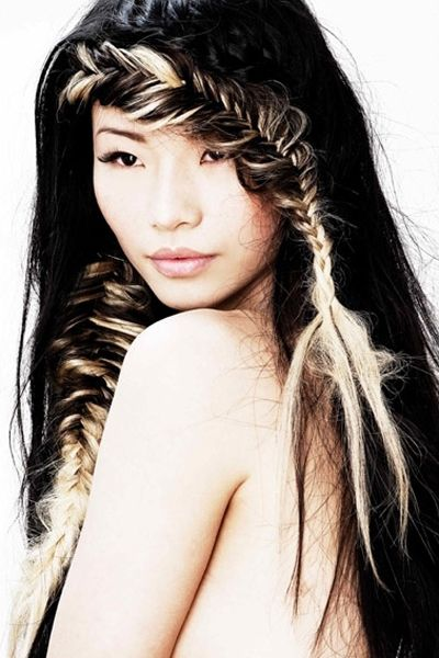 Sweet long black hair with a great fishtail fringe.