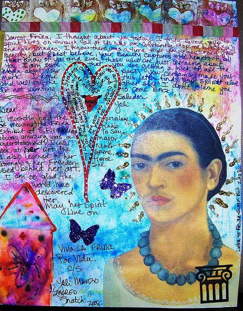 Letter to Frida   Kahlo Swap,by Yoli Manzo.  Mixed media, art journaling