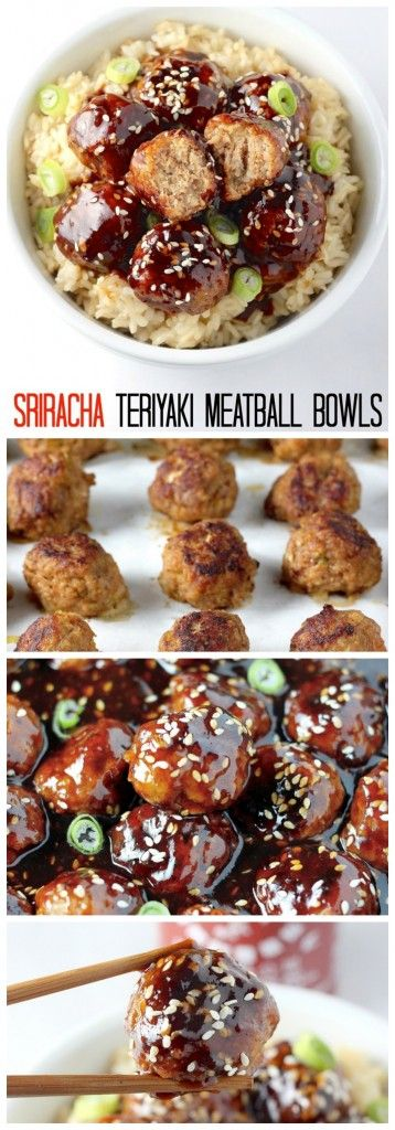 Healthy 30 Minute Sriracha Teriyaki Meatball Bowls - AMAZING flavor in just 30 minutes! Your whole family will love these meatball and rice bowls!