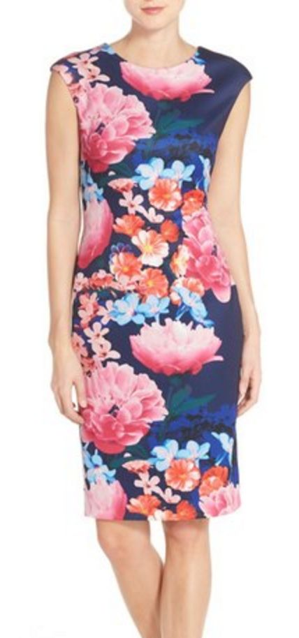 Pink and Navy Floral Cap-Sleeve Sheathe Dress