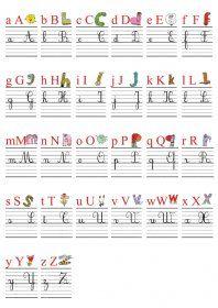 Frise murale avec l'alphabet des alphas Une frise alphabétique (26 affiches A4) pour la classe avec l'alphabet des alphas et les 4 graphies des lettres (minuscules et majuscules scriptes et cursives) ainsi qu'un référent alphabétique pour les élèves.