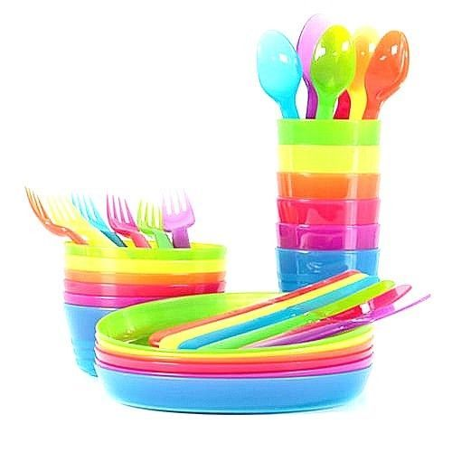 Top Quality Ikea 36 Piece Dinnerware Set Assorted Colors For Kids Babs Camping Ikea Kids Plates Ikea Kids Plastic Bowls