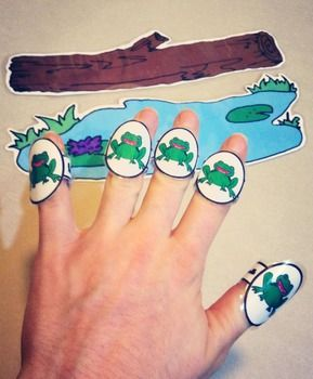 Printable Finger Rings for finger counting - Five Little Speckled Frogs Activity: