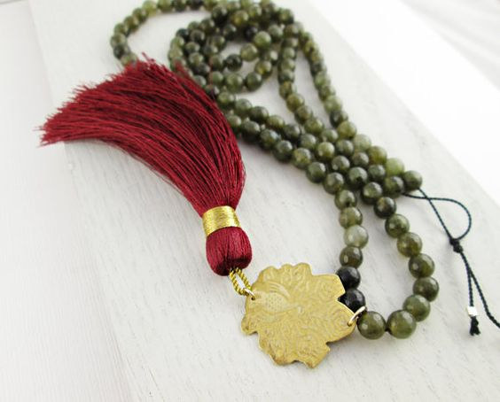 Long Marsala Tassel Necklace. Etched Brass by MissCAlexandria