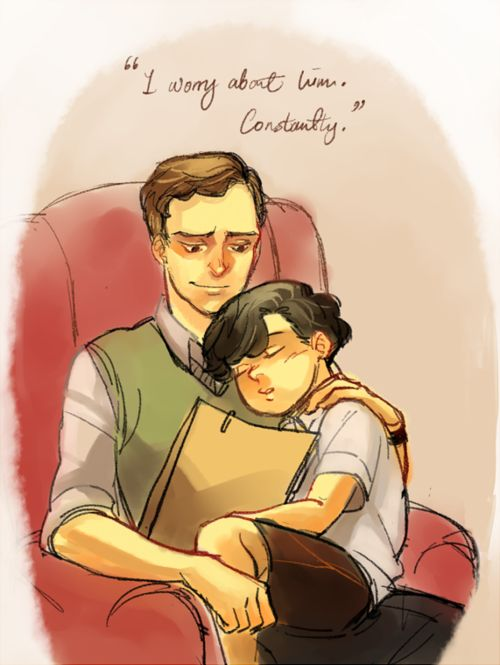 """""""Aw, brothers. <3  I like to think that this is how Mycroft and Sherlock were when they were both younger, but some big falling out lead to the way they are with each other now.  I wonder what it was."""":"""