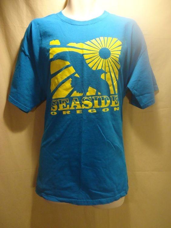 VINTAGE Men's Blue SEASIDE OREGON Graphic T-Shirt SZ. XL Very COOL design!