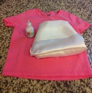 DIY Aurora Inspired Costume Shirt   This is for the Aurora dress  A pink t-shirt white silky fabric pink Rick rack (not pictured) Ez steam clear glitter puff paint First, I cut the white silky fabr…