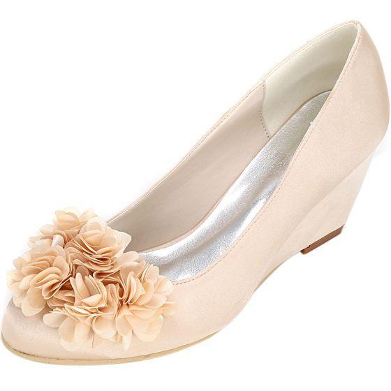 Piekne Szampan Bal Buty Damskie 2020 Satyna Aplikacje 6 Cm Na Koturnie Szpiczaste Women Shoes Chic Beautiful Shoes