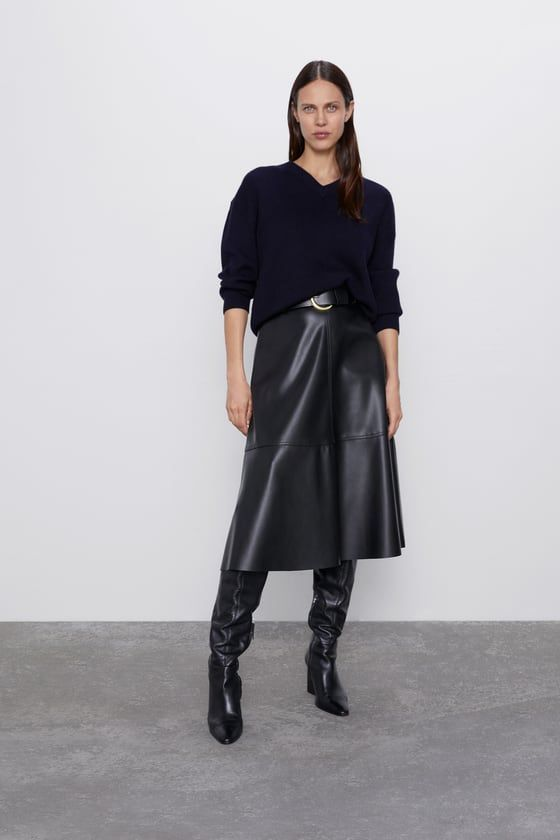 BELTED FAUX LEATHER SKIRT | ZARA United States