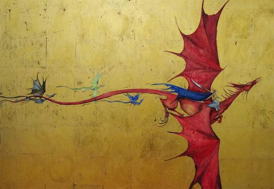 Cover art for Blood of Dragons by Robin Hobb   Watercolour and gold leaf on Arches hot pressed paper.  £3850 unframed....... suppose I'll start saving now.....: