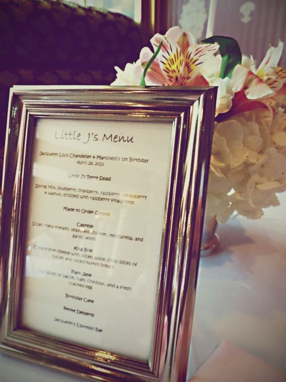 Simple, flawless, romantic table decor. Menu and flowers. #frame #eventplanning #floral #diy @cindyatol