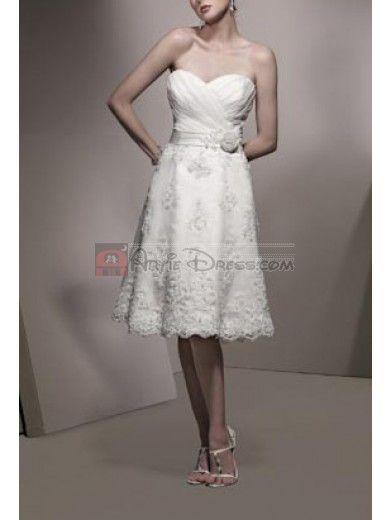 Elegant A-line Sweetheart neckline Lace and Satin Short Wedding Dress - Artie Dress