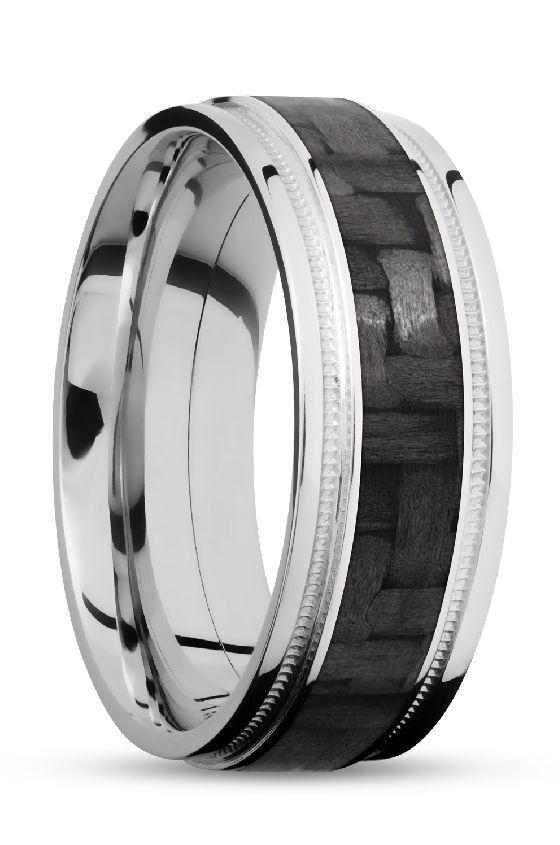 Black Carbon Fiber Wedding Rings For Men With White Gold