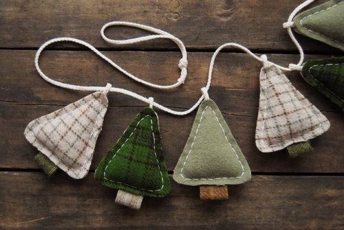 RESERVED - Winter Tree Garland - Primitive Woodland Home Decor - Camping Bunting…