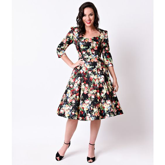 1950s Style Thorny Rose Quarter Sleeve Stretch Swing Dress ($62) ❤ liked on Polyvore featuring dresses, black, swing skirt, stretch dress, retro dress, 3/4 length sleeve dresses and retro style dresses