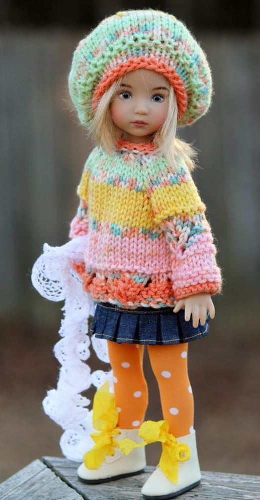 "Spring Colors Sweater Hat Scarf Stocking For 13"" Effner Little Darling byBarbara #DiannaEffner:"