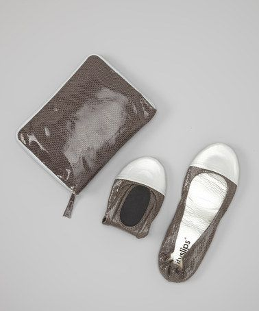 Another great find on #zulily! Gray Snakeskin Foldable Ballet Flat & Carrying Case by CitySlips #zulilyfinds