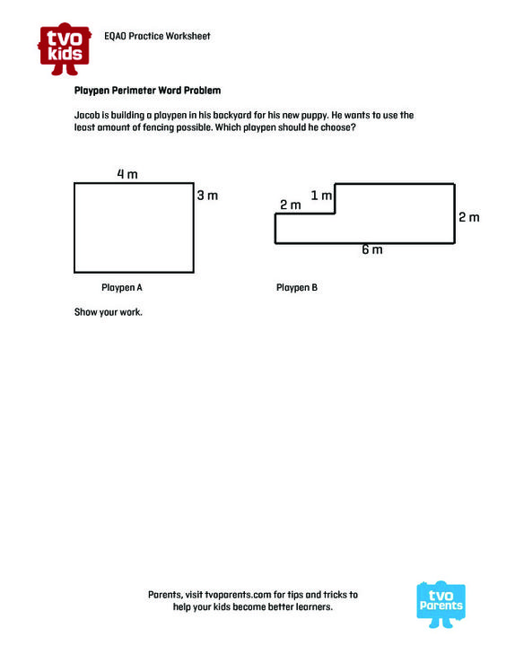 EQAO Practice Worksheet: Finding Perimeter. Download worksheet and ...