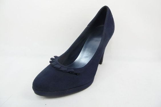 Fioni Fabric Suede Look Platform Pumps Heels w/Ruffle Toe Accent Blue Size 8 M #Fioni #PumpsClassics