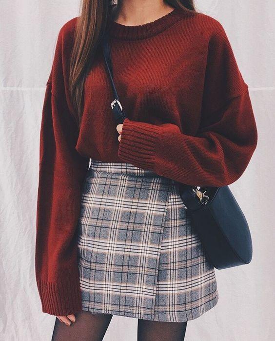 Fashion | Fashion outfits | Fashion ideas | Fall fashion | Outfit inspiration | Winter fashion | Burgundy fashion | Maroon fashion | Maroon fall outfit | - | #sweater #jumper #checkedskirt #ootd #style #inspo #clothing